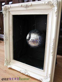 Geek home decor: DIY Death Star Disco Ball in shadow box frame.