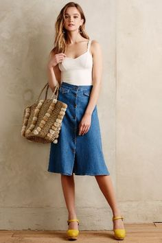 MiH Button-Front Denim Skirt - anthropologie.com