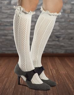Boot socks with lace and buttons! How adorable are they with heels? Get the authentic Fiorelle Norah Lacey knee high socks at Amazon #bootsocks