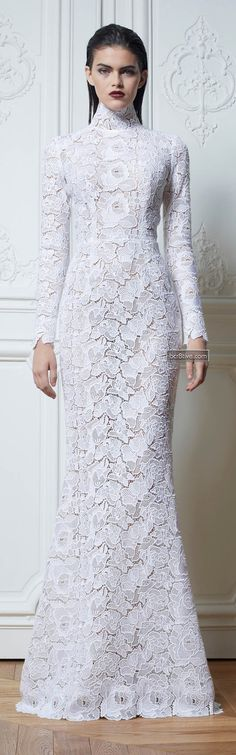"""This is one of my """"favorites""""..so you think its too plain?... attention to the details..is vital..the intricate lace..to the perfect hair,earrings,shoes,and the """"all white bouquet""""... after all then its not tooooooo plain at all (perfect winter evening wedding) ♥♥♥"""