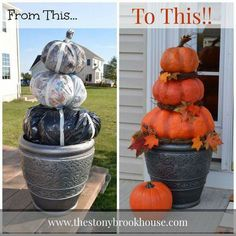 How to make a beautiful DIY pumpkin topiary with a garbage bag, newspaper and masking tape. I love the leaves she added too. So talented! Details here: http://www.smartschoolhouse.com/diy-crafts/fall-decorating-hacks/17