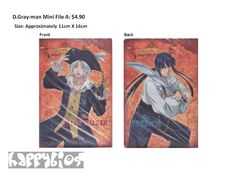 D.Gray-man Mini File A  Anime Character Goods  Size: Approximately 11cm X 16cm