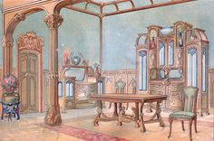 Jugendstil furniture | Art Nouveau (Jugendstil) Furniture and interiors
