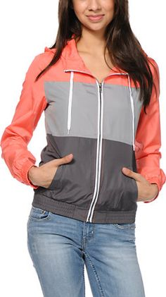 Zine Coral, Light Grey & Dark Grey Windbreaker Jacket at Zumiez : PDP