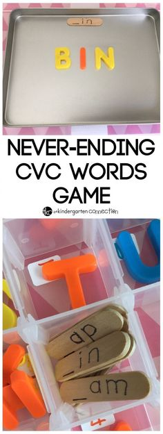 TEACH YOUR CHILD TO READ - Encourage letter and sound recognition with this never ending CVC word game that can be used in a classroom or at home. Teach CVC words hands-on! Super Effective Program Teaches Children Of All Ages To Read. Kindergarten Centers, Kindergarten Reading, Teaching Reading, Guided Reading, Kindergarten Phonics, Preschool Learning, Literacy Stations, Literacy Centers, Reading Centers