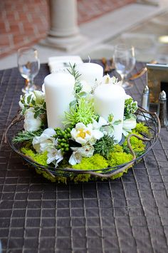Beautiful green & white candle centerpiece