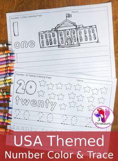 No Prep USA Themed Number Color & Trace | 3 Dinosaurs | Bloglovin'