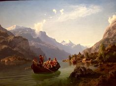 Adolph Tidemand og Hans Gude. 1848. Bridal Procession on the Hardanger fjord. National Gallery, Oslo, Norway.