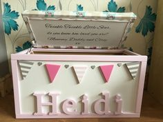 Personlised hand painted toy box made to your by DaintyCCrafts
