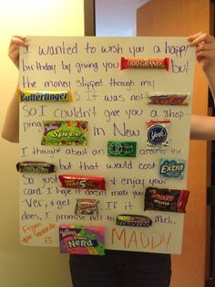 1f14b7ec2091 Image result for letter ideas with candy for best friend Birthday Present  Ideas For Best Friend