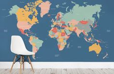 Rich navy blue seas and softly colored countries make up this fantastic Navigator Kids Map wallpaper; perfect for a bedroom or playroom. Both informative and beautiful, the harmonious colors work equally well in either a boys or a girls room. Political country borders are marked, and countries are clearly labelled in this up-to-date world map mural.