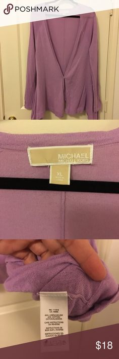 Loose cut Michael Kors cardigan Michael Kors loose cut deep V long sleeve cardigan with one snap closure. Fabric is a cotton/linen blend. Lightweight fabric, perfect for summer nights. Color is light purple. Michael Kors Sweaters Cardigans