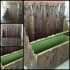 Storage bench I created using old fence pickets. Super heavy and solid!   Follow me @ Facebook.com/Reddirtjunky