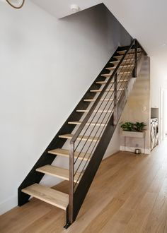 steel and wood stairs, wood floors in rehabbed early century Brooklyn townhouse. Modern Wood Floors, Living Room Hardwood Floors, Diy Wood Floors, Hardwood Floor Colors, Bedroom Flooring, Wooden Flooring, Flooring Ideas, Laminate Flooring, Diy Flooring