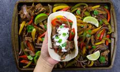 Easy Sheet Pan Steak Fajitas Recipe with Video These simple and healthy 30 minute Sheet Pan Steak Fajitas come together in no time a delicious dinner option!