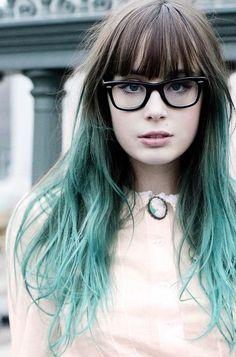 Long hair with bangs, long black hair, bangs and glasses, balayage hair, om Dye My Hair, Your Hair, Coiffure Hair, Teal Hair, Turquoise Hair Ombre, Mint Green Hair, Black Hair, Rocker, Coloured Hair
