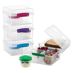 Klip-It Lunch Cube Max To Go - Divided compartments help to portion out their lunch like a pro. Keep their sandwich, chips, fruits & veggies separate and give them a well-balanced healthy school lunch. Lunch Containers, Food Storage Containers, Box Storage, Lunch Items, Cool Lunch Boxes, Lunch To Go, Container Store, Glass Dishes, Bento Box