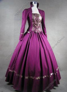 Victorian Gothic Civil War Brocade Cotton Ball Gown Period Dress Reenactment…