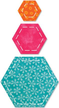AccuQuilt GO! Fabric Cutting Dies Hexagons. These cutting dies come in a variety of shapes and sizes and some dies make multiple cuts with each passing. Circles, squares, triangles, Hexagons, Flowers,