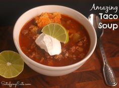 amazing Taco Soup. Skipped jalapeno, onion powder, & garlic powder. Added extra zucchini and didn't sauté it, just boiled it in soup until tender. Used 1.34 lbs beef. Added 28-32 ounces of water to make it soupier with the beef/zucchini. Lime is key.