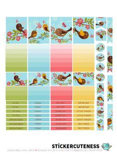 Free Printable OhPrettyBird Planner Stickers from StickerCuteness
