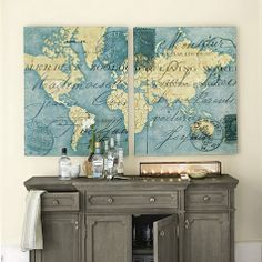 Ocean Blue Map Print by Ballard Designs  I  ballarddesigns.com