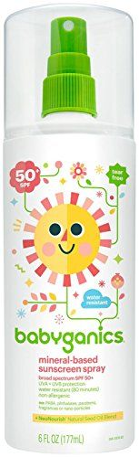 Babyganics Mineral-Based Baby Sunscreen Spray, SPF 50 - - My list of the most beautiful baby products Raspberry Seed Oil, Best Sunscreens, Baby Skin Care, Spray Bottle, Minerals, Moisturizer, Fragrance, Cosmetics, Baby Safe