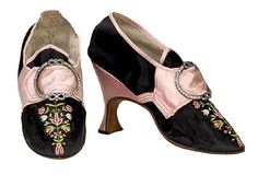 Embroidered black silk shoes, English, c. 1780-85.