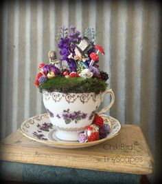 Mad Hatter Tea Cup Garden, Fairy Tea Cup, Alice in Wonderland, Fairy Tea Cup, Cake Topper, Place Marker, Flower Arrangement, Diorama