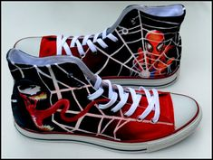 Custom Mens Shoes Spiderman Painted by PricklyPaw #Spiderman