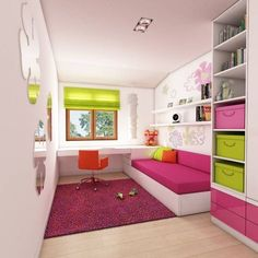 A modern apartment near the sea: style, in the children& room category, designed by the interior of the courtyard - Hollys Zimmer - # Teenage Girl Bedroom Designs, Small Bedroom Designs, Small Room Design, Teen Girl Bedrooms, Kids Room Design, Small Room Bedroom, Bedroom Decor, Bedroom Ideas, Cool Beds For Teens