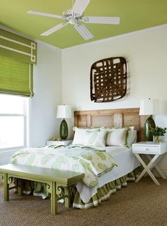 green, bright and that headboard might be an old wooden door?