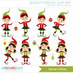 Christmas / Santas Little Elves Clip Art / by MyClipArtStore, $4.50