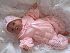 Angies Angels patterns - exclusive designer knitting an crochet patterns for your precious baby or reborn dolls, handmade, handknitted, baby clothes, reborn doll clothes Free Aran Knitting Patterns, Baby Cardigan Knitting Pattern Free, Baby Boy Knitting Patterns, Baby Hats Knitting, Baby Patterns, Crochet Patterns, Knitting Dolls Clothes, Baby Doll Clothes, Knitted Dolls