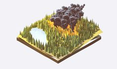 """Wired Magazine """"Wildfire"""" - August 2014 by Timothy J. Reynolds, via Behance"""