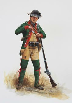"""AMERICAN REVOLUTION: A private soldier of Boucherville's Company of Canadian Volunteers 1777. This was one of several companies of French Canadians who served in Burgoyne's invasion of New York State which culminated in his defeat and surrender at Saratoga. Each of the companies was dressed differently and """"volunteers"""" was possibly an overly optimistic term for their required service."""