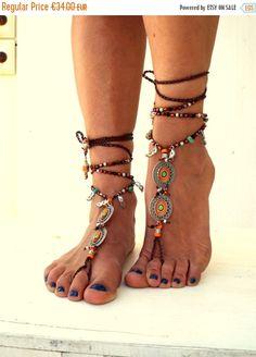 SUMMER SALES Orange Mandala Barefoot Sandals by SoftCrystal