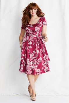 Womens Plus Size Short Sleeve Sateen V-back Fit and Flare Dress from Lands End