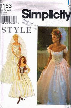 41bf81409b Size 6-16 Misses  Renaissance Wedding Dress Pattern - Lace Up Bodice Full  Skirt Dress - Bustier Dres