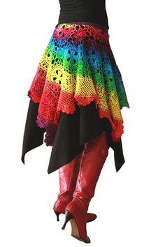 Rainbow Crochet Skirt  http://www.crochetconcupiscence.com/2013/03/100-unique-crochet-skirts/