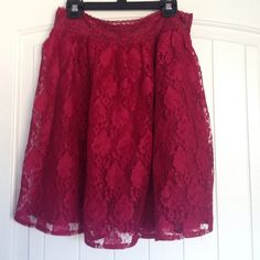 Red Lace Skirt. A sexy and feminine take on the high waisted a-line skirt. This eye-popping, bright red floral lace pairs beautifully with crepe tops or body hugging shirts. Lined. Worn; in excellent condition. Sits just above the knees. Old Navy Skirts A-Line or Full