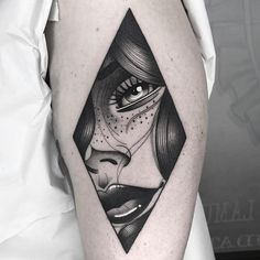 Rhombus Girl Portrait Tattoo by Lydia Madrid Pin Up Tattoos, Couple Tattoos, Body Art Tattoos, Sleeve Tattoos, Watch Tattoos, Tattoo Girls, Girl Tattoos, Tatoos, Tattoo Bicep
