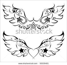 angel wings and star tattoo - Google Search