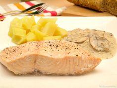 Salmón con salsa de champiñones y patatas - MisThermorecetas