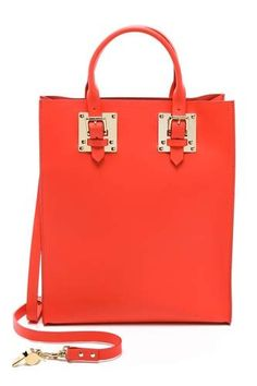 Sophie Hulme - Structured Buckle Tote in coral. Coach Handbags Outlet, Tote Handbags, Purses And Handbags, Tote Bags, Big Purses, Coach Purses, Discount Coach Bags, Cheap Coach, Purse Styles