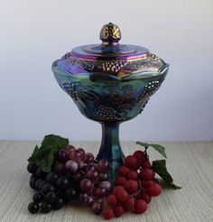 Harvest Grape Carnival Glass  Carnival Glass Covered Candy