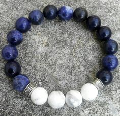 Sodalite Bracelet, Howlite Beads Bracelet, Mens fashion10mm handmade beaded bracelets, Stretch Bracelet, Fashion bead Bracelet.