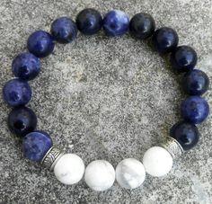 Sodalite Bracelet, Howlite Beads Bracelet, Mens fashion10mm handmade beaded bracelets, Stretch Bracelet, Fashion bead Bracelet.