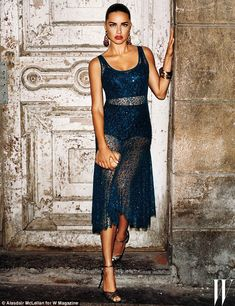 Exotic beauty: Adriana Lima, 34, looks stunning in a midnight blue Michael Kors Collection dress in a new spread for W magazine