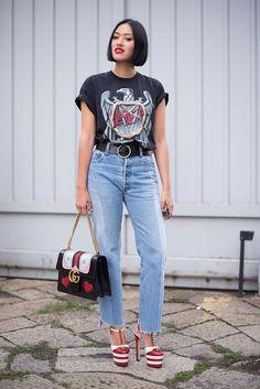 Model and actress Tiffany Hsu teaming a super-sleek bob, vintage Slayer T-shirt and a Gucci bag at Milan Fashion Week